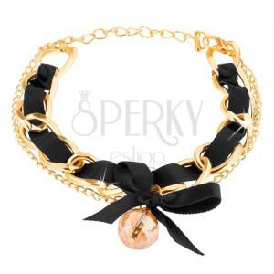 Karkötő, két arany színű lánc fekete szalaggal összefonva, gyöngy, masni