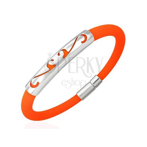 Gumi karperec, gömbölyű - ornamentum, narancsszínben