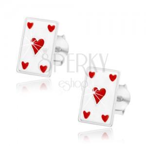 925 ezüst fülbevaló, fehér kártya - piros szív, stekker