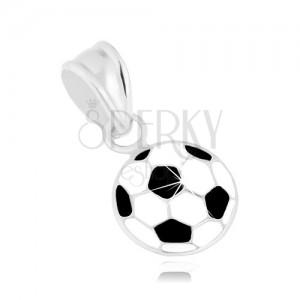 Fényes medál 925 ezüstből, focilabda fehér és fekete fénymázzal fedve