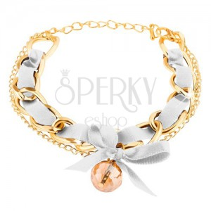 Két arany színű láncból álló karkötő, fehér szalag és masni dísszel, gyöngy