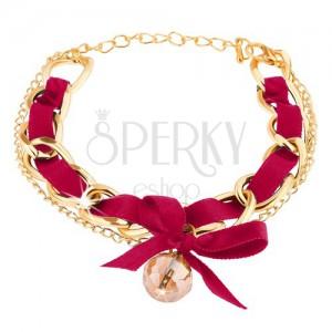 Állítható karkötő, aray színű lánc, ciklámen szalag, gyöngy