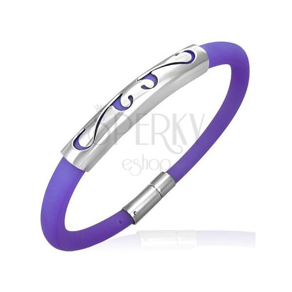 Gömbölyű gumi karkötő - cifra minta, lila