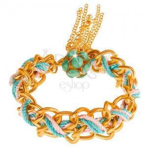 Karkötő, kettős lánc, kék és rózsaszín színben, zöld árnyalatú gyöngyökkel díszítve
