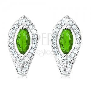 Fülbevaló, 925 ezüstből, smaragdzöld színű búzaszem, átlátszó cirkóniás körvonallal