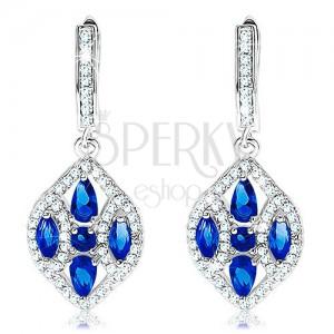 925 ezüst fülbevaló, széles búzaszem kék és átlátszó cirkóniákkal díszítve