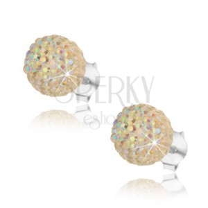925 ezüst fülbevaló, szivárványfényű világossárga golyó, stekker