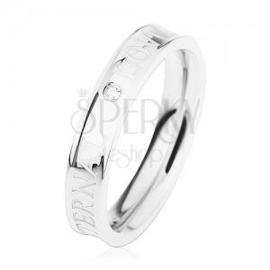 Acél gyűrű, ezüst színben, kivájt középpel, átlátszó cirkónia, ETERNAL LOVE