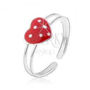 Gyűrű 925 ezüstből, dupla szárú, piros szív fehér pontokkal