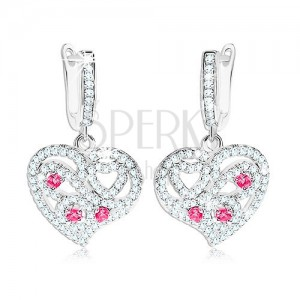 Fülbevaló 925 ezüstből, szívecske átlátszó és rózsaszín cirkóniákkal díszítve