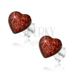 925 ezüst fülbevaló, szívecske piros fénymázzal és csillámmal fedett, stekker