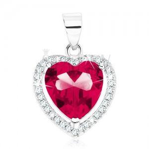Medál 925 ezüstből, pirosasrózsaszín szívecske átlátszó cirkóniás szegéllyel