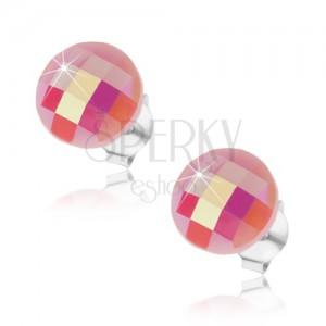 Rózsaszín 925 ezüst fülbevaló, domború, csiszolt kör, szivárványfényű