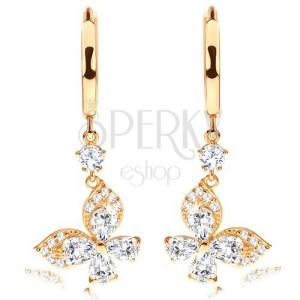 14K ságra arany fülbevaló - fényes karika, átlátszó cirkónia pillangó