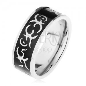 Acél gyűrű ezüst színben, fényes, fekete sáv törzsi motívummal díszítve