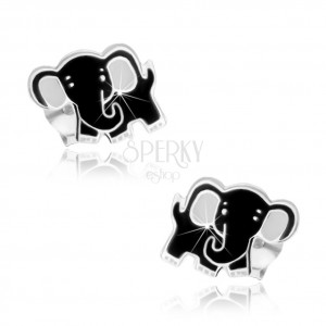 925 ezüst fülbevaló, aranyos elefánt, fekete és fehér fénymázzal fedett, stekker