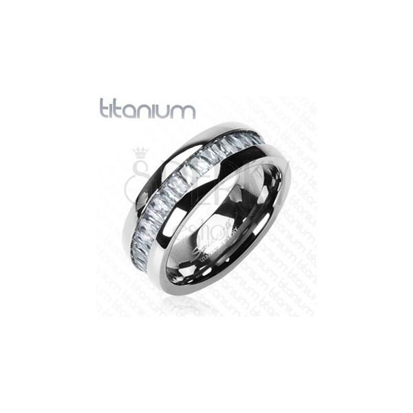 Gyűrű titániumból, téglalap alakú cirkóniákkal