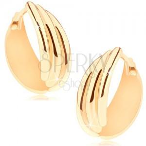Bepattintós fülbevaló 14K sárga színű aranyból, kör három lekerekített vonallal