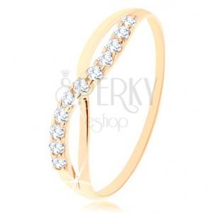 585 arany gyűrű - sima és csillogó hullám kerek, átlátszó cirkóniákból