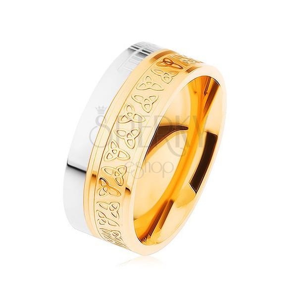 Karikagyűrű sebészeti acélból, ezüst és arany színben, keltai csomók