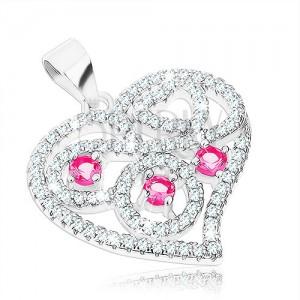 925 ezüst medál, szív átlátszó és rózsaszín cirkóniákkal kirakva