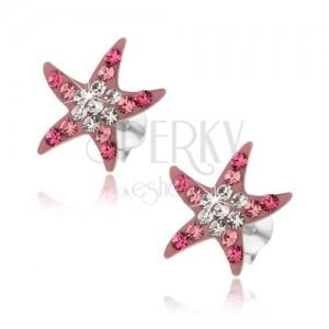 925 ezüst fülbevaló, rózsaszín tengeri csillag, csillogó cirkóniákkal díszítve, stekker