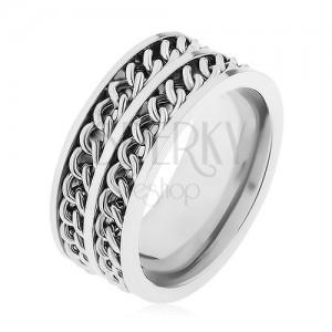 316L acél gyűrű ezüst színben, két díszítő lánc, magas fény