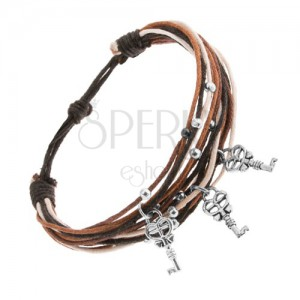 Zsinóros karkötő barna, fahéjbarna és fehér színben, három kulcs