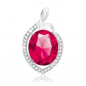 925 ezüst medál, pirosas rózsaszín ovális cirkónia átlátszó körvonallal