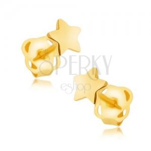 Fülbevaló 14K sárga aranyból - tükörfényű ötágú csillagocska