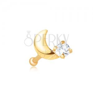 Orrpiercing 14K sárga aranyból - egyenes, félhold, cirkónia