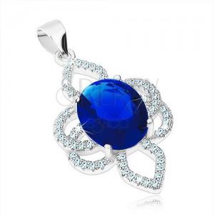Medál 925 ezüstből, virág - kék ovális cirkónia, átlátszó szirom körvonalakkal