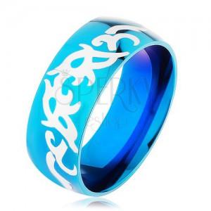 Kék karikagyűrű 316L acélból, fényes, sima felületű, törzsi mintákkal