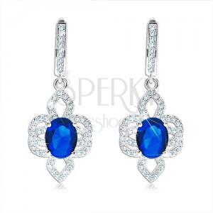Fülbevaló 925 ezüstből, aszimmetrikus virág - kék ovális cirkónia, átlászó szirmokkal