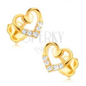 585 arany fülbevaló - egyenletes és egy kisebb telt szív körvonal, cirkóniák