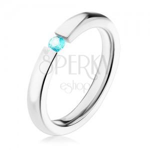 316L acél gyűrű, ezüst szín, csillogó cirkónia türkiz színben, 3 mm