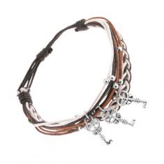 Állítható karkötő barna, fekete és fehér színben, golyók és kulcsok acélból