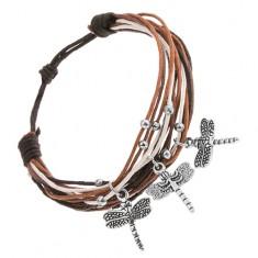 Állítható karkötő zsinórokból, fehér, fekete, barna színben, medálok - szitakötő