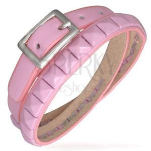 Tekert rózsaszín bőrkarkötő - piramis öv