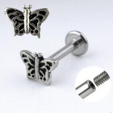 Labret áll acél piercing - lepke bemetszésekkel díszített szárnyakkal