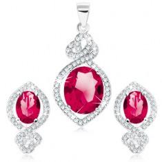 925 ezüst szett, pirosas rózsaszín ovális cirkónia, átlátszó szegély, hurok