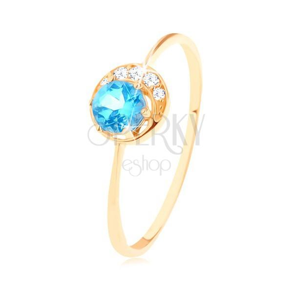 Gyűrű 9K sárga színű aranyból - apró, csillogó félhold, kerek topázzal
