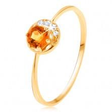 Gyűrű 9K sárga színű aranyból - keskeny holdsarló, sárga citrin, cirkóniákkal átlászó színben