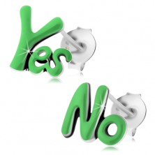 Bedugós fülbevaló 925 ezüstből, patinás Yes és No szó, zöld fénymáz