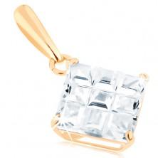 585 arany medál - átlátszó cirkóniás négyzet, felületén átlós karcolásokkal