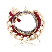 Multikarkötő, vastag lánc bordó szalaggal, gyöngyökkel és medálokkal díszítve