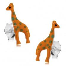 925 ezüst fülbevaló, narancssárga zsiráf szürke pontokkal, stekker