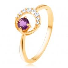 375 arany gyűrű - vékony cirkóniás félhold, ametiszt lila árnyalatban