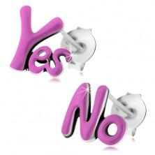 Patinás fülbevaló 925 ezüstből, angol Yes és No felirat, lila fénymázzal