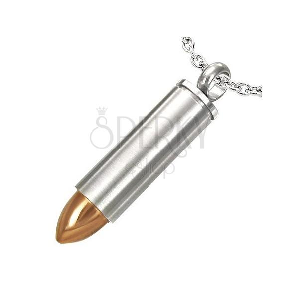 Medál acélból - éles lőszer, arany végződés